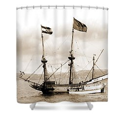 Half Moon Re-entered Hudson River After An Absence Of 300 Years In Sepia Tone Shower Curtain