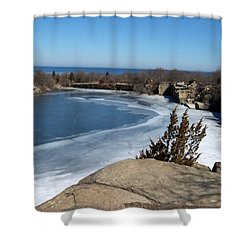 Icy Quarry Shower Curtain by Catherine Gagne