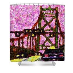 Halifax Macdonald Bridge Pointillist Shower Curtain by John Malone