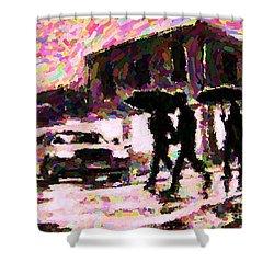 Halifax Nova Scotia On In The Rain Shower Curtain by John Malone johnmaloneartistcom