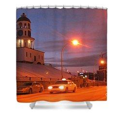 Halifax Town Clock In Halifax Nova Scotia Shower Curtain by Halifax photographer John Malone