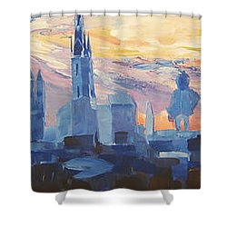 Halle Saale Germany Skyline Shower Curtain by M Bleichner