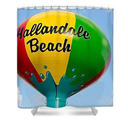 Hallendale Beach Water Tower Shower Curtain by Les Palenik