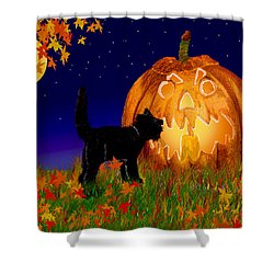 Halloween Black Cat Meets The Giant Pumpkin Shower Curtain by Michele Avanti
