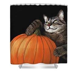 Shower Curtain featuring the painting Halloween Cat by Anastasiya Malakhova