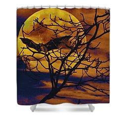 Halloween Full Moon Terror Shower Curtain by David Mckinney