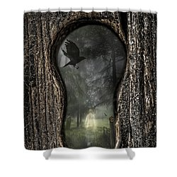 Halloween Keyhole Shower Curtain by Amanda Elwell