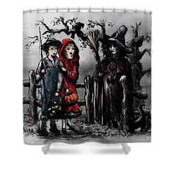 Halloween Night Shower Curtain by Rachel Christine Nowicki