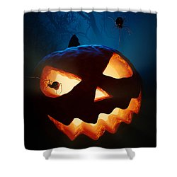 Halloween Pumpkin And Spiders Shower Curtain by Johan Swanepoel