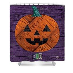 Halloween Pumpkin Holiday Boo License Plate Art Shower Curtain by Design Turnpike