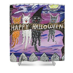 Halloween Scaredy Cats Shower Curtain by Jeffrey Koss