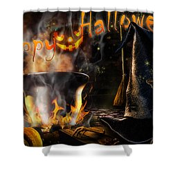 Halloween' Spirit Greeting Card Shower Curtain