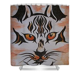 Shower Curtain featuring the painting Halloween Wild Cat by Teresa White
