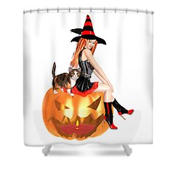 Halloween Witch Nicki With Kitten Shower Curtain