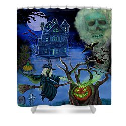 Halloween Witch's Coldron Shower Curtain by Glenn Holbrook