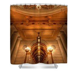 Halls Of Gold Shower Curtain by Lori Deiter