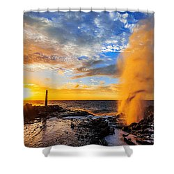 Halona Blowhole At Sunrise Shower Curtain
