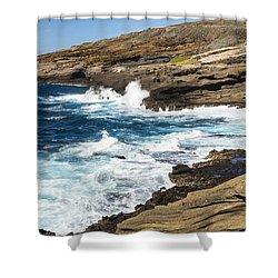 Halona Coastline 1 Shower Curtain