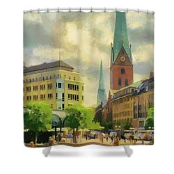 Hamburg Street Scene Shower Curtain by Jeffrey Kolker