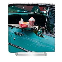 Shower Curtain featuring the photograph Hamburger Drive In Classic Car by Gunter Nezhoda