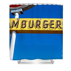 Hamburgers Old Neon Sign Shower Curtain
