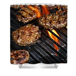 Hamburgers On Barbeque Shower Curtain by Elena Elisseeva