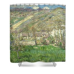 Hamlet In The Cliffs Near Giverny Shower Curtain by Claude Monet