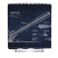 Hammer Patent Drawing From 1901 Shower Curtain by Aged Pixel
