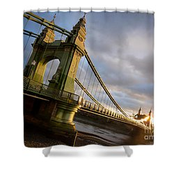 Shower Curtain featuring the photograph Hammersmith Bridge In London by Peta Thames