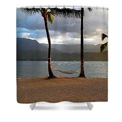 Hammock At Hanalei Bay Shower Curtain by James Eddy