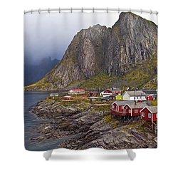 Hamnoy Rorbu Village Shower Curtain by Heiko Koehrer-Wagner
