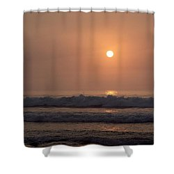 Hampton Beach In Morning Fog Shower Curtain by Eunice Miller