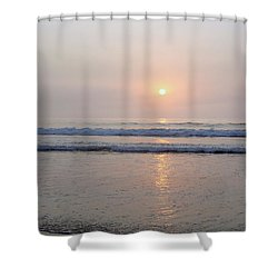 Hampton Beach Waves And Sunrise Shower Curtain by Eunice Miller