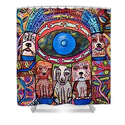 Hamsa Dog Blessing' Shower Curtain by Sandra Silberzweig