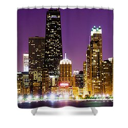 Hancock Building At Night In Chicago Shower Curtain by Paul Velgos