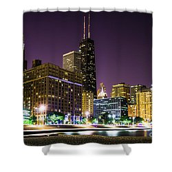 Hancock Building With Dusk Chicago Skyline Shower Curtain by Paul Velgos
