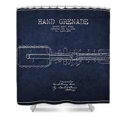 Hand Grenade Patent Drawing From 1916 Shower Curtain by Aged Pixel