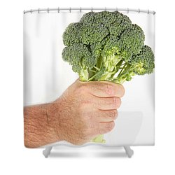 Hand Holding Broccoli Shower Curtain by James BO  Insogna