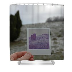 Hand Holding Polaroid - Concept Image For Memory Or Time Or Past Shower Curtain by Matthias Hauser