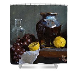 Hand-made Pottery With Fruits Shower Curtain