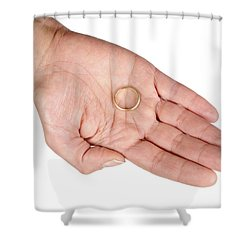 Hand Of A Woman With Wedding Ring Shower Curtain by Matthias Hauser