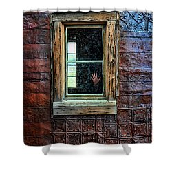 Hand On Old Window Shower Curtain by Jill Battaglia