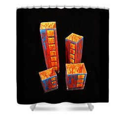Hand Painted Glass Set Of Four Reds Shower Curtain