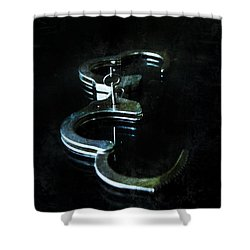 Handcuffs On Black Shower Curtain by Jill Battaglia