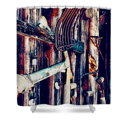 Shower Curtain featuring the photograph Handles And The Pitchfork by Lesa Fine