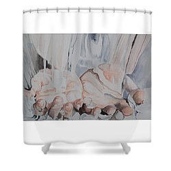 Hands In Water Shower Curtain