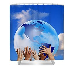 Hands Touching A Globe Shower Curtain by Don Hammond