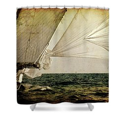 Shower Curtain featuring the photograph Hanged On Wind In A Mediterranean Vintage Tall Ship Race  by Pedro Cardona