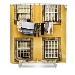 Hanging Clothes Of Old World Europe Shower Curtain