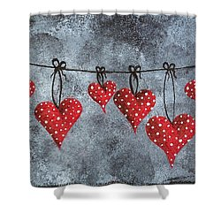 Shower Curtain featuring the painting Hanging On To Love by Oddball Art Co by Lizzy Love